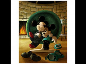 Mickey Mouse and Minnie Mouse Date Night Paper Giclee Print