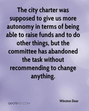 us more autonomy in terms of being able to raise funds and to do other ...