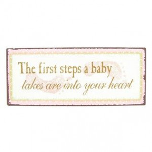 Baby first steps in heart sign from Hobby Lobby for my little girl