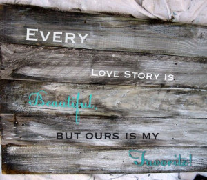 Wooden wall decor with love quote on Etsy, $45.00
