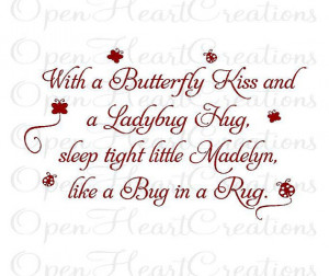 and a Ladybug Hug - Baby Nursery Name Wall Decal - Quote Saying Poem ...
