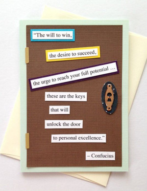 Confucius Personal Excellence Quote Motivational Handmade Greeting ...