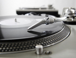 Vinyl record in the grooves of forever, bass and treble