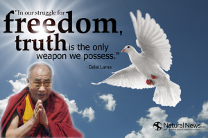 """... for freedom, truth is the only weapon we possess."""" - Dalai Lama"""