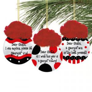 Georgia Bulldogs 3-Pack Team Sayings Ornaments