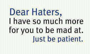 For those of you who don't like me for whatever reason, especially you ...