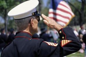 Retired Marine in dress uniform saluting - Gary Conner/ Photolibrary ...