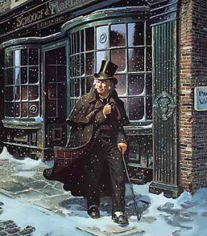 Ebenezer Scrooge in a decidedly non-festive mood.