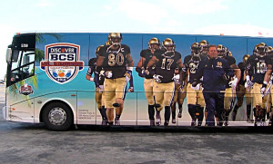 Notre Dame team bus at the airport. (abc3340.com)