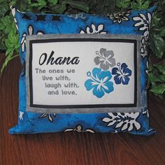 Hawaiian #Ohana #Family Embroidered #Quote Pillow by ...