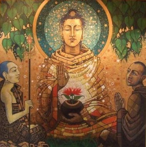 lord buddha painting paying homage hd buddha hd images
