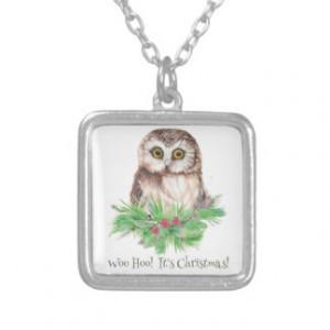 Christmas Humor Quote Cute Owl Bird Pendant