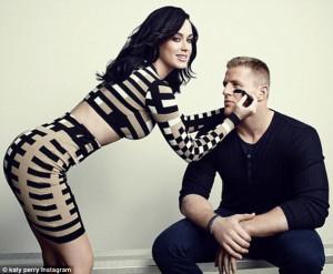 ... during Super Bowl as she puts arm around JJ Watt for ESPN magazine