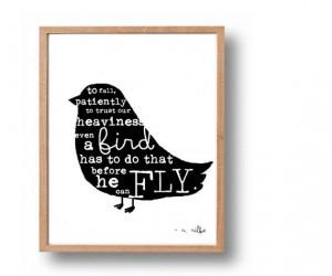 idea, not words, Rainer Maria Rilke Quote Print, Black Bird Silhouette ...
