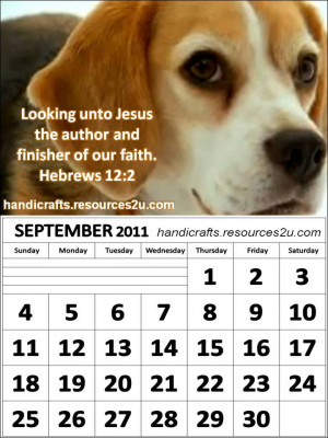 ... Calendar 2011 September with Bible verses or Encouraging quotes