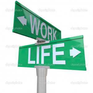 Work vs Life Balance Choices Two Way Street Road SIgns - Stock Image