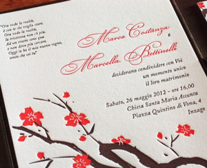 Sakura Letterpress Wedding Invitation Design In Italian