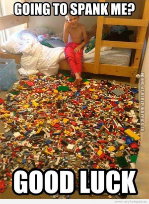 ... - Going to spank me? Good luck! Kid with floor covered with lego