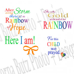 Instant download of Rainbow Baby Quotes Templates on Transparent ...