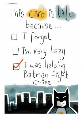 Helping Batman Fight Crime| Belated Birthday Card #funny #batman # ...
