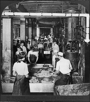 Making sausages in the meat-packing industry