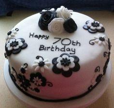 Black and White birthday cake for my mum's 70th birthday. More