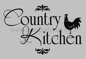 Details about COUNTRY KITCHEN Vinyl Wall Quote Decal Rooster Home