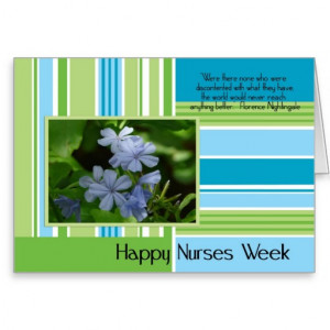 Happy Nurses Week-floral green/blue stripe+Quote Greeting Cards
