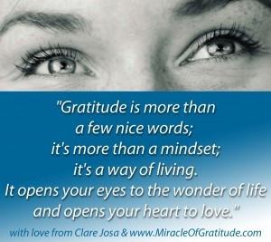 ... Of Gratitude ~ http://www.clarejosa.com/the-miracle-of-gratitude