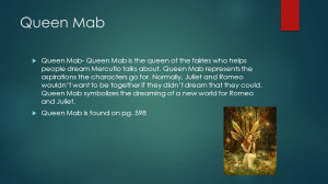 ... Mercutio talks about. Queen Mab represents the aspirations the cha