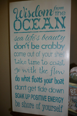 ... Painted, Wood Sign, Wall Decor,Ocean, Quotes, Sea, Inspiring, Unique