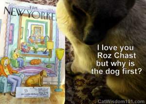 Yorker and Merlin enjoys the cartoons especially those by Roz Chast ...
