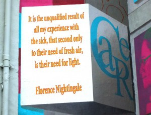 The mural features one of Florence Nightingale's most famous quotes.