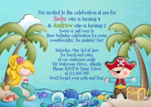 Mermaid and Pirate Birthday Invitation Boy Girl Birthday - Custom You ...