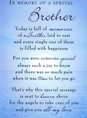 In Memory Of A Special Brother, Today Is Full Of Memories Of A Brother ...