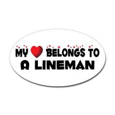 Belongs To A Lineman Oval Sticker for