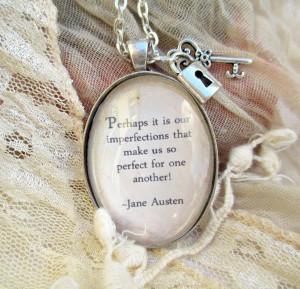 Jane Austen quote vintage style pendant