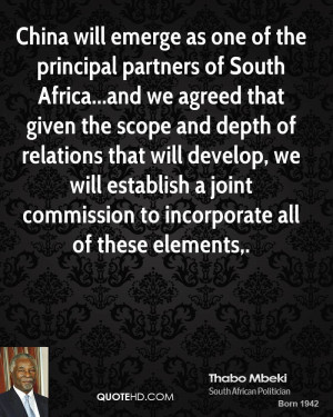 China will emerge as one of the principal partners of South Africa ...