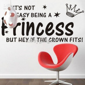 Cute Princess Crown Star Vinyl Wall Quote Baby Girls Kids Room Wall ...