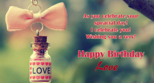 ... special day i celebrate you wishing you a very happy birthday love