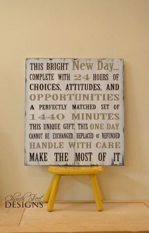 ... Painted Wooden Sign This Bright New Day by ChurchStDesigns, $70.00