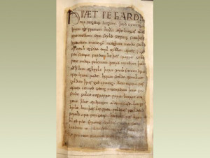 The first lines of Beowulf, the Old English story-poem. It begins: 'So ...