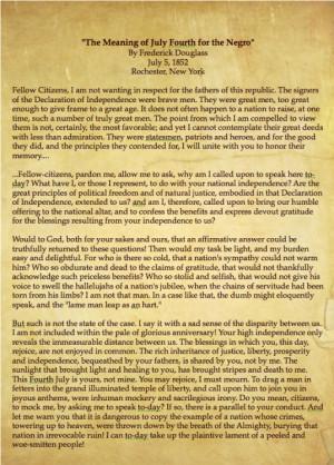 Frederick Douglass Speech All of douglass' speeches.