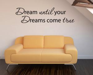 Dream come true Wall Art Quote Home Sticker Vinyl Decal Room Decor Kid ...