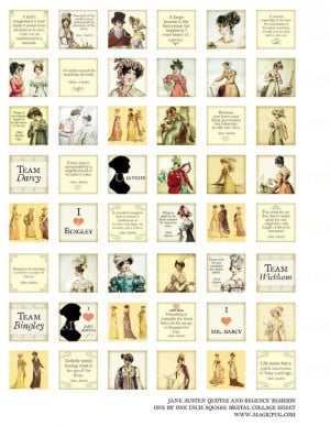 Jane Austen quotes and Regency England fashion 1 inch square digital ...