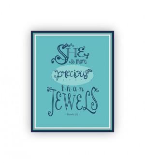 ... than Jewels, Little Girls Room, Christian Scripture Wall Art, 8x10
