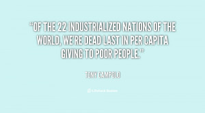 Of the 22 industrialized nations of the world, we're dead last in per ...