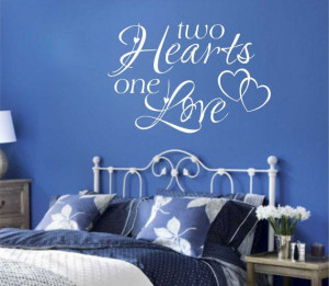 Romantic Vinyl Wall Lettering Quote Two Hearts by WallsThatTalk, $13 ...
