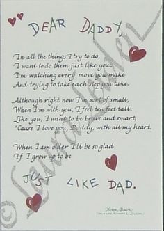 Dear Daddy Poem Picture Frame | All Things For Mom... I love this ...