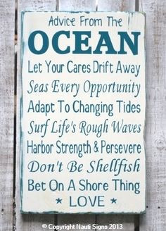 Rustic Beach Sign, Ocean Poem, Advice From The Ocean Sign, Beach House ...